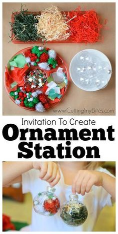 Set up a Christmas ornament station for preschool, kindergarten, or elementary class party. Let kids add different Christmas goodies to work on fine motor skills and make a beautiful keepsake ornament to take home!