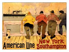 Poster Print Wall Art Print entitled American Line, New York to Southampton, Vintage Poster, by Henri Cassiers Vintage Advertising Posters, Vintage Travel Posters, Vintage Advertisements, Wall Art Prints, Poster Prints, Canvas Prints, Vintage Labels, Vintage Ads, Vintage London