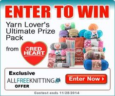 Win the Yarn Lover's Ultimate Prize Pack through AllFreeKnitting.com and Red Heart Yarn! This amazing tote bag is full of $150 worth of yarn and supplies!