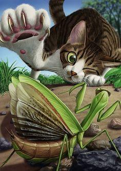 Artist: matataku {contemporary feline cat with grasshopper foreshortening perspective illustration I Love Cats, Crazy Cats, Cute Cats, Warrior Cats, Perspective Art, Dibujos Cute, Here Kitty Kitty, Cat Drawing, Cat Art