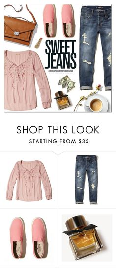 """Sweet Jeans"" by alexandrazeres ❤ liked on Polyvore featuring Hollister Co., Loeffler Randall, Burberry, denim, sweet, jeans, fashionset and fallfashion"