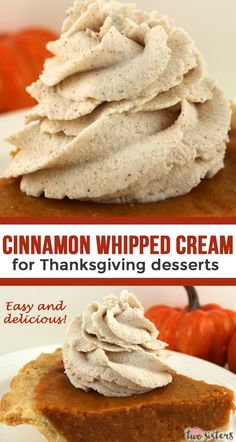 Cinnamon Whipped Cream for Thanksgiving Desserts is the perfect topping for your Thanksgiving desserts. Pumpkin Pie will taste even better topped with this yummy easy to make flavored whipped cream. Cool and creamy and chocked full of cinnamon flavor thi Pumpkin Recipes, Fall Recipes, Holiday Recipes, Köstliche Desserts, Delicious Desserts, Dessert Recipes, Flavored Whipped Cream, Whipped Cream Desserts, Thanksgiving Desserts Easy