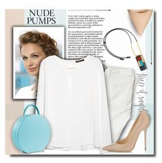 Find the Perfect Pair of Nude Pumps by bynoor on Polyvore featuring polyvore, fashion, style, MANGO, Paige Denim, Jimmy Choo and Marni