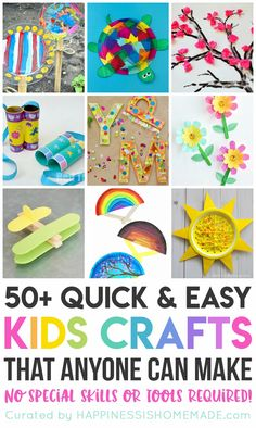 50+ quick and easy kids crafts that can be made in under 30 minutes using items that you probably already have around the house! No special tools or skills are required, so ANYONE can make these cute crafts for kids! Great fun for the entire family! Easy Crafts For Kids Fun, Toddler Arts And Crafts, Toddler Art Projects, Quick Crafts, Easy Arts And Crafts, Spring Crafts For Kids, Craft Projects For Kids, Craft Activities For Kids, Preschool Crafts