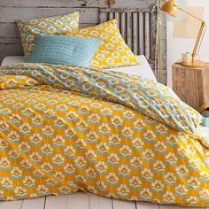 Parure inspiration vintage  imprimé Minaus, jaune moutarde, et chambre rustique chic   bedroom