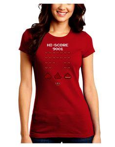 TooLoud Pixel Heart Invaders Design Juniors Petite Crew Dark T-Shirt