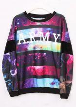 Purple Long Sleeve Striped Galaxy Sweatshirt $32.84