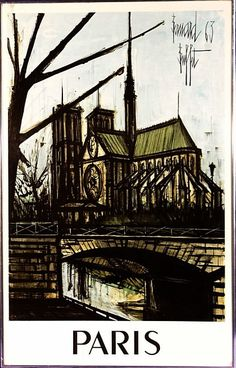 Rare ca.1963 Paris Lithograph Poster by Bernard Buffet w/Frame