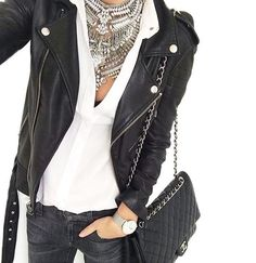 Dylan Lex type necklace with black jeans, black motorcycle leather jacket and white blouse