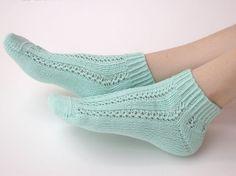 Hand knit cotton Socks women fishnet mint for her by SockClub, $30.00