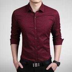 New 2016 Men's Shirts men Casual slim fit designer Print Camisa red/kh – liligla Rugged Style, Style Men, Preppy Style, Men's Style, Casual Shirts For Men, Men Casual, Casual Menswear, Smart Casual, Gilet Costume