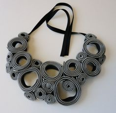 Silver Circles Zipper Necklace by exuvi on Etsy