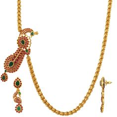Gold Plated Ruby Emerald Mope Chain