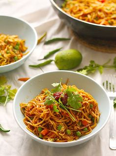 Indonesian style vegetable noodles, cooked with sambal a sweetened soy sauce