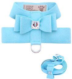 Dog Harnesses Big Bow Tiff Blue Designer Harness With Swarovski Crystals