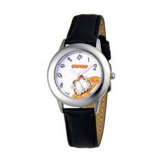 eWatchFactory Kids' W000621 Garfield Tween's Time Teacher Black Leather Strap Watch eWatchFactory. $30.39. Accurate quartz movement. Durable mineral crystal. 1 year limited manufacturer's warranty. Meets or exceeds all US Government requirements and regulations for children's watches. Water-resistant to 30 M (99 feet). Stainless steel case