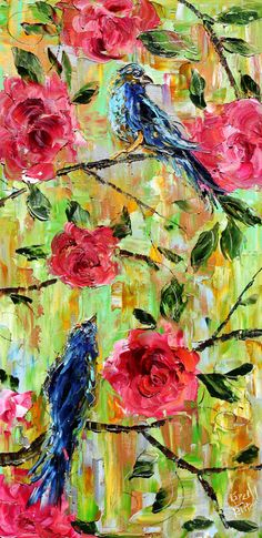 Original oil Birds and Flowers palette knife painting by Karensfineart