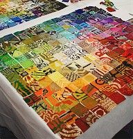 African fabric mosaic quilt.