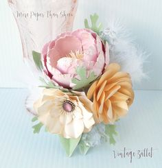 60 best paper flower corsages boutineers images on pinterest in paper flower corsage signature collection vintage ballet designed by anna fearer more paper than shoes mightylinksfo