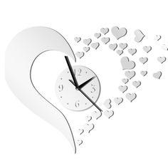 Gosear® Arte Moderna Fai da Te Amore 3D Forma Circolare Orologio da Parete Creativo per Casa E Ufficio Decorazione Argento EURO 10,49