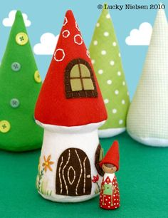 Gnome and Mushroom Cottage pattern from Lucky Nielsen. @Julie Weller