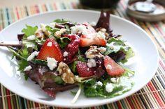 Spring Greens & Strawberry Salad + Maple Vinaigrette