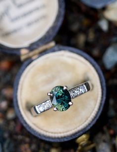 1.6 Carat Green Sapphire Engagement Ring in Platinum