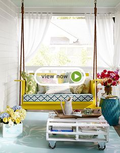 Top Outdoor Decorating Tricks. Awesome pallet table and the bed swing in yellow, great idea!