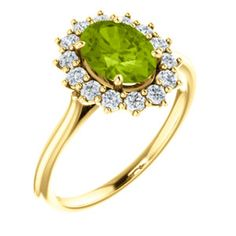Yellow Gold Peridot & Diamond Ring Item #71606