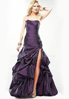 Strapless A line Taffeta Floor Length Lace up Sleeveless Prom Gowns