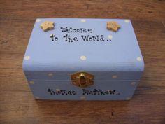 Shabby Chic Newborn baby boy Memory Keepsake box personalised Handmade gift. - 330570953809