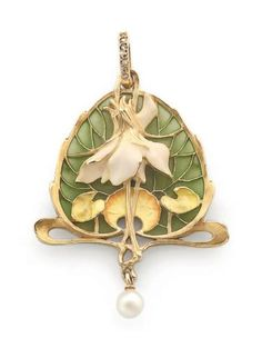 A pendant by Lucien Gautrait. Yellow gold pendant with a plant motif rendered in enamel and set with small rose cut diamonds. Signed and numbered on the back.