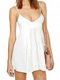 White Deep V Neck Spaghetti Straps Bow Back A Line Dress