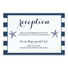 Wedding Reception Card Beach Starfish Nautical