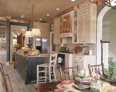 Abberley Lane - John Tee, Architect | Southern Living House Plans Southern Living House Plans, Woodlands Cottage, Open Concept Kitchen, French Country Kitchens, Best House Plans, Farmhouse Design, Farmhouse Plans, Cottage Kitchens, Home Kitchens