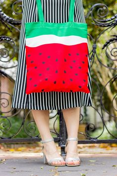 Forever 21 watermelon bag | summer tote bag | silver sandals | striped dress | casual outfit ideas | easy weekend outfit ideas