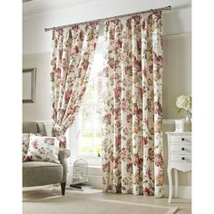 Ashley Wilde Cream & Red 'Carnaby' Chintz Floral Curtains Lined Pencil Pleat - Ashley Wilde Wide Curtains, Drop Cloth Curtains, Pleated Curtains, Floral Curtains, Hanging Curtains, Blackout Curtains, Panel Curtains, Curtains 2018, Patterned Curtains