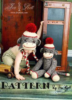 PATTERN - Classic Twist Sock Monkey Hat and 21 inch Sock Monkey Doll - Crochet PDF Pattern