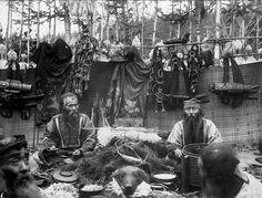 Ainu celebrating Bear festival, 1905