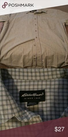 *Christmas Sale* Eddie Bauer Button Down Top quality vintage Eddie Bauer shirt with a light black and white pattern. Eddie Bauer Shirts Casual Button Down Shirts