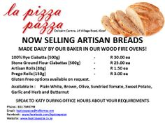 Price list as of 25 June 2014 for our artisan breads . all enquiries welcome. Artisan Rolls, Artisan Bread, Wood Oven, 25 June, Price List, Ciabatta, How To Make Bread, Rye, Hot Dog Buns
