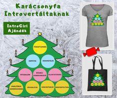Ez a karácsonyfa olyan tulajdonságokat tartalmaz, amik az introvertált típusú emberekre jobban jellemző. Találd meg Te is az erősségeidet! t-shirt design T Shirt Designs, Tee Shirt Designs