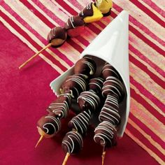 Chocolate covered fruit skewers