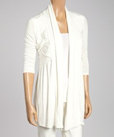 White Pleated Open Cardigan