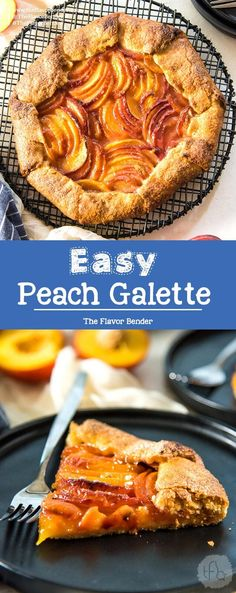 Easy Peach Galette - A delicious buttery pie crust, with a fresh, juicy peach filling! Fool proof, simple and easy summer dessert. #PeachRecipes #SummerRecipes #PeachGalettes