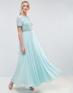 ASOS | Vestido largo de manga corta con diseño floral y adornos de ASOS