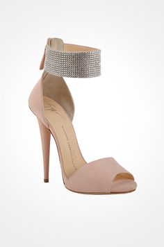 A favorite pink wedding shoe for the glamorous bride: Guiseppe Zanotti's romantic sandal with a crystal cuff.