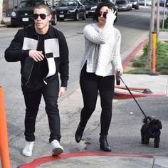 Demi Lovato And Nick Jonas Walk Her Dog Batman - http://oceanup.com/2016/01/28/demi-lovato-and-nick-jonas-walk-her-dog-batman/