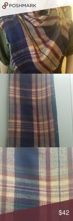 PLAID BLANKET SCARF Plaid blanket in navy, burgandy, beige, and pink.  Fringe hem. 60x60. 100% acrylic. Accessories Scarves & Wraps