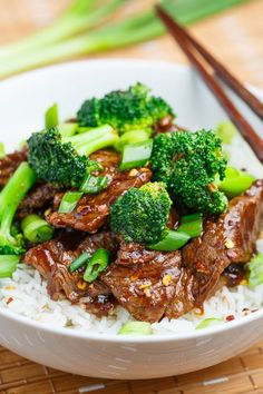 20 Minute Light Mongolian Beef on Closet Cooking Asian Recipes, New Recipes, Dinner Recipes, Cooking Recipes, Favorite Recipes, Healthy Recipes, Recipies, Dinner Ideas, Healthy Food